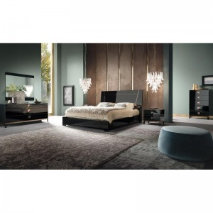 Italian Black Gloss with Rose Gold Bedroom Furniture