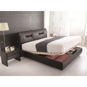 Leather Hydraulic Storage Bed