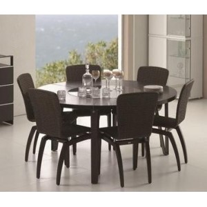 Round Dining Table with Glass Lazy-Susan Insert